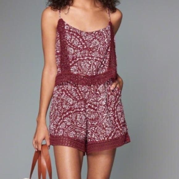 95f6f6e5b5c Abercrombie   Fitch Dresses   Skirts - Abercrombie Burgundy Floral Print  Lace Romper